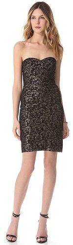 Rebecca taylor Metallic Lace Strapless Dress