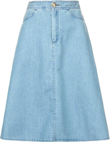MOTO Vintage Denim Midi Skirt