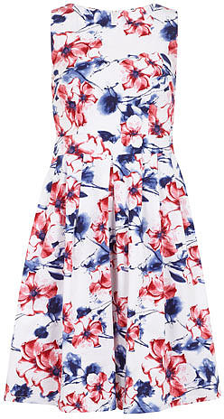 Blue floral print 50s dress