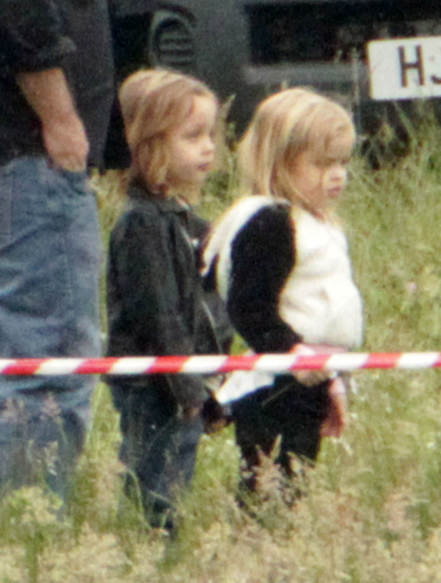 Knox Jolie-Pitt and Vivienne Jolie-Pitt visited mom Angelina Jolie while she was filming on the set of Maleficent in the UK in June 2012.