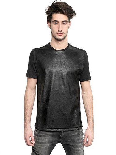 Eco Leather & Cotton Jersey T-Shirt