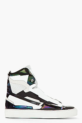 RAF SIMONS Black & White Leather Holographic Space Sneakers