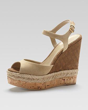 Gucci Suede Espadrille Wedge Sandal, Cream