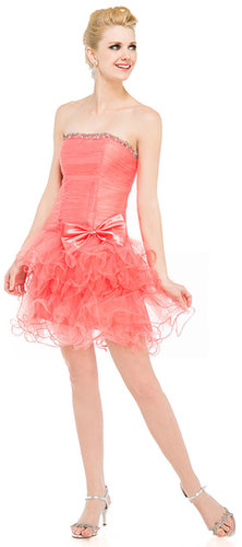 LM-16203 Strapless Mesh Short Party Dress with Ruffled Skirt -Satin-Boutique.Com