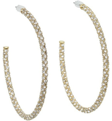 Juicy Couture - Large Pave Hoop Earrings (Gold) - Jewelry