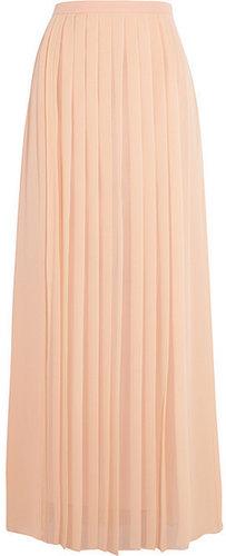 Tibi Pleated silk crepe de chine maxi skirt