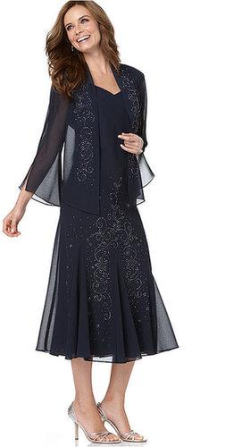 R & M Richards R&M Richards Dress and Jacket, Sleeveless Beaded V-Neck