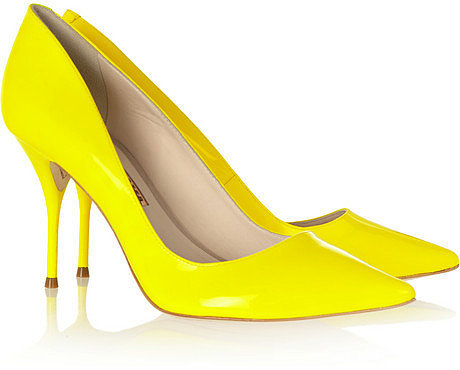 Sophia Webster Lola neon patent-leather pumps