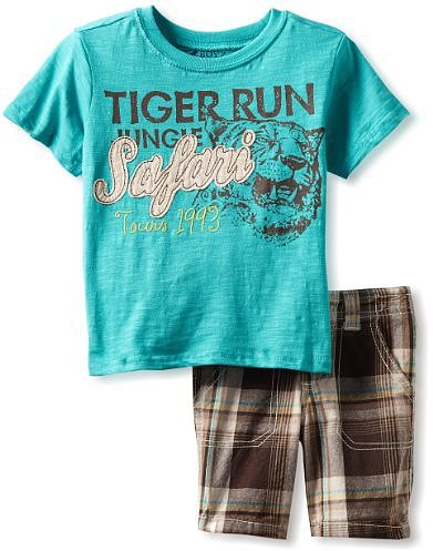 Nannette Boys 2-7 2 Piece Safari Plaid Short Set