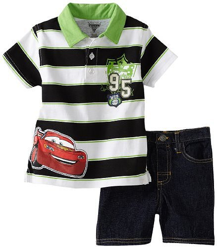 Disney Baby-Boys Infant Stripe Cars Shirt and Denim Short Set