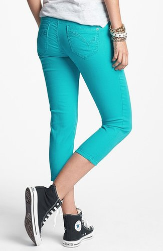 Jolt Crop Skinny Jeans (Turquoise) (Juniors)
