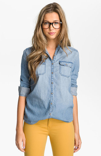Rubbish Chambray Boyfriend Shirt (Juniors)