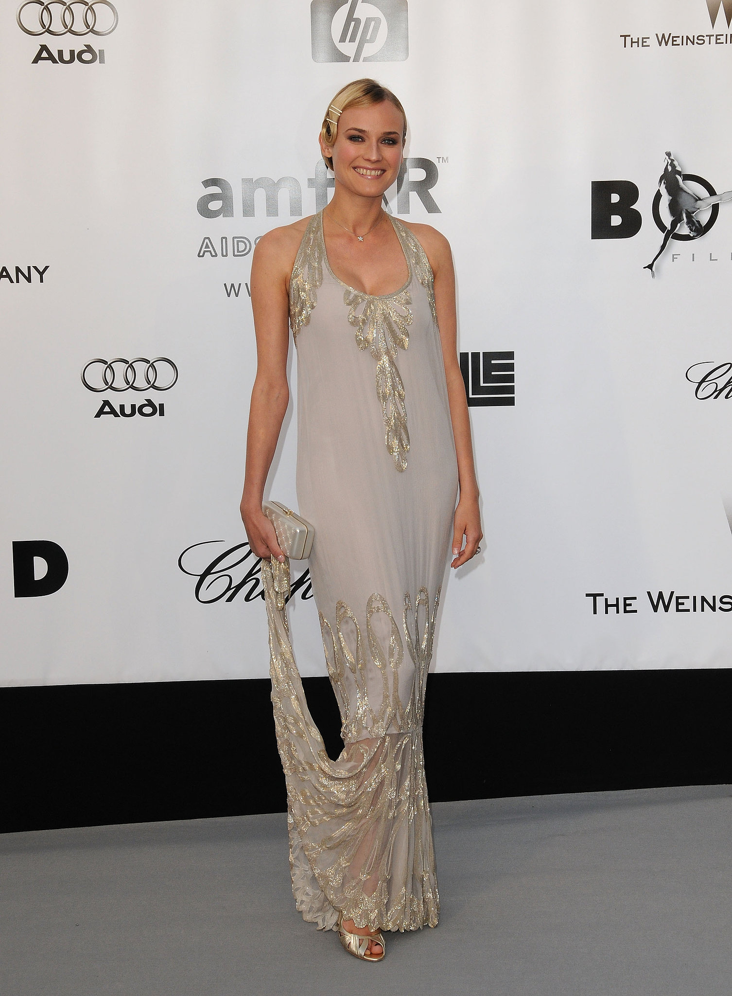 Here's an elegant example of flapper fashion — Diane Kruger wore a silver embroidered Chanel Haute Couture gown, complete with marcel waves, to the 2008 amfAR Cinema Against AIDS gala.