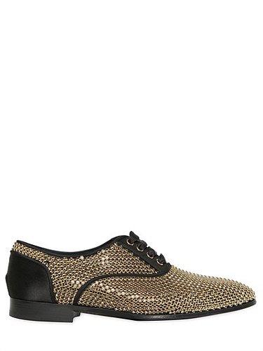 Swarovski & Satin Oxford Lace-Up Shoes