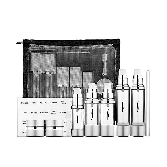 Sephora takes the travel-size refills to new heights with its Airless Travel Set ($28). The jars and tubes will protect your most valuable cosmetics from oxygen exposure at high altitudes. It's all contained in a TSA-ready mesh bag.