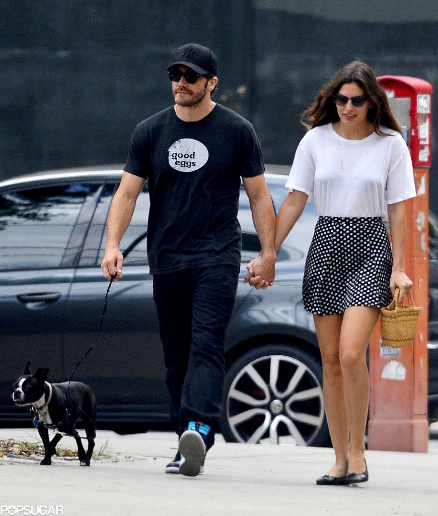 Jake Gyllenhaal and Alyssa Miller walked her dog Charlie in NYC.