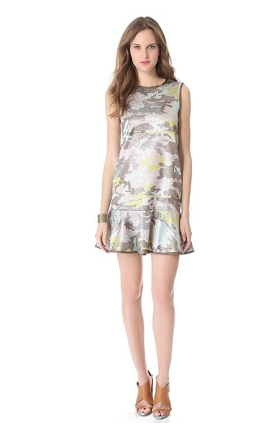 Yes, you can totally make camo print girlie — this Cynthia Rowley brocade flounce dress ($525) is the proof.