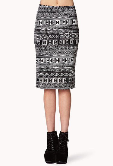 FOREVER 21 Tribal Print Pencil Skirt
