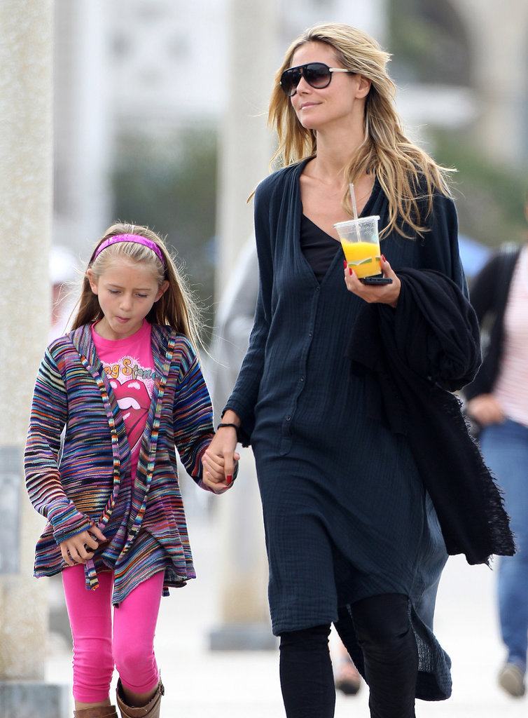 Heidi Klum went to breakfast in Santa Monica, CA, with her family.