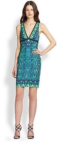 Roberto Cavalli Snake-Print Stretch Jersey Dress