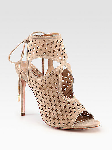 Aquazzura Sexy Suede Cutout Ankle Boots