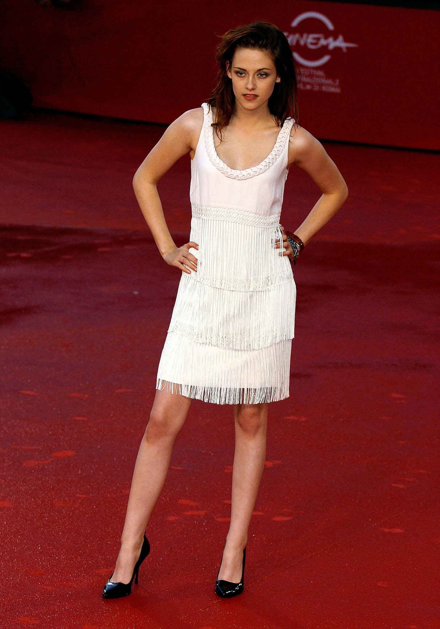 The star exuded a retro-chic vibe in a flirty fringed number for Twilight's Rome International Film Festival premiere in 2008.