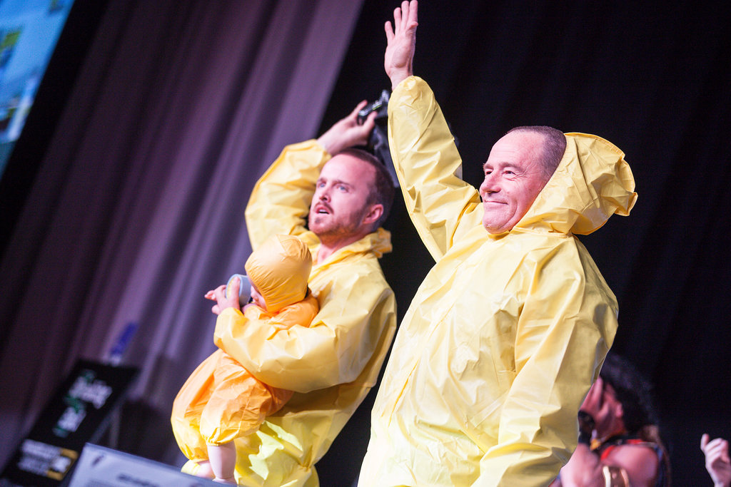 Aaron Paul and Bryan Cranston sported their Breaking Bad costumes for the show's press conference in 2012.