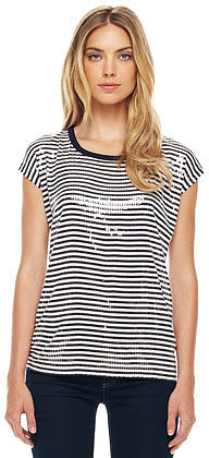 MICHAEL Michael Kors Striped Sequined Tee