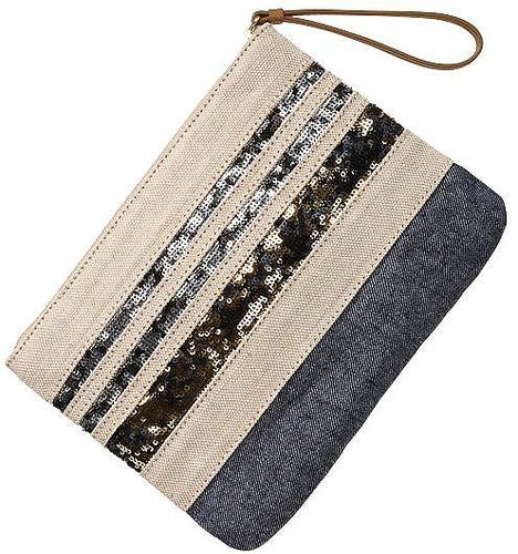 Sequin stripe zip clutch