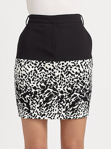 Tibi Colorblock Animal Print Crepe Skirt