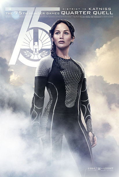 Jennifer Lawrence as Katniss, who competes in the Quarter Quell as the most recent Hunger Games victor.