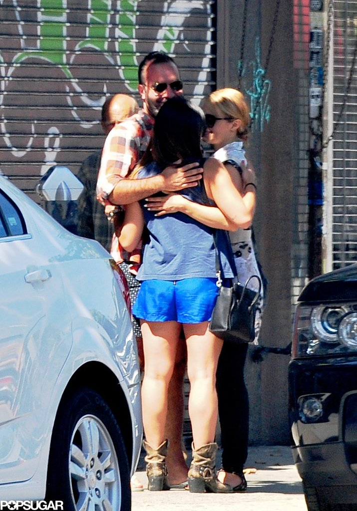 Dianna Agron and Jenna Ushkowitz were hugged by a friend.