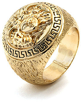 King Ice Medusa Versace Style Mens Gold Ring