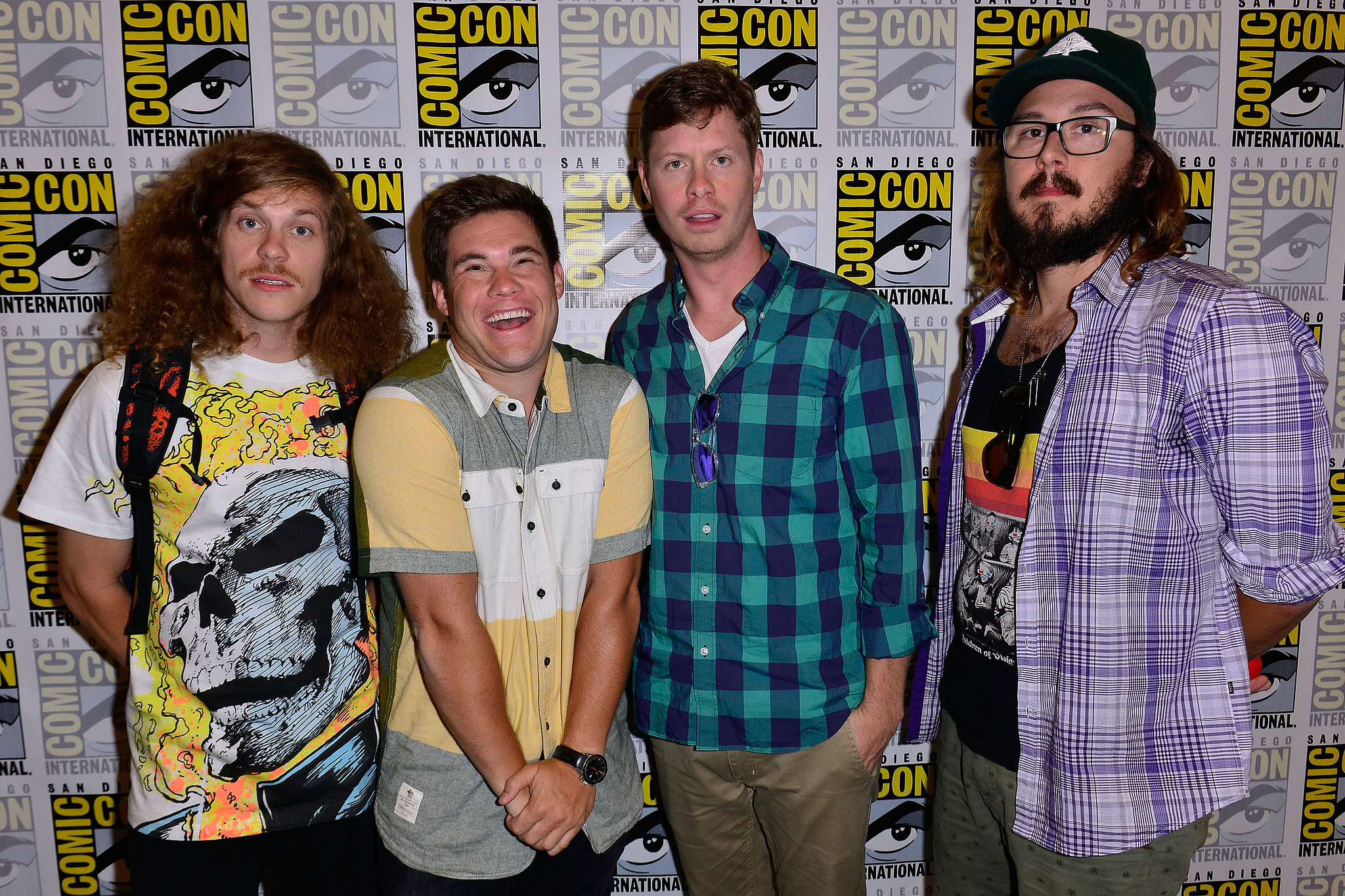 The cast of Comedy Central's Workaholics showed up for a press line on Thursday.