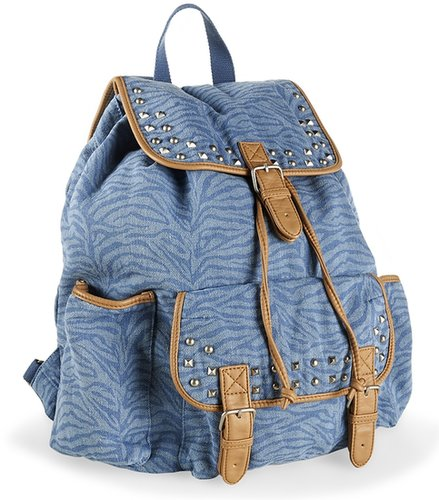 Studded Zebra Denim Backpack