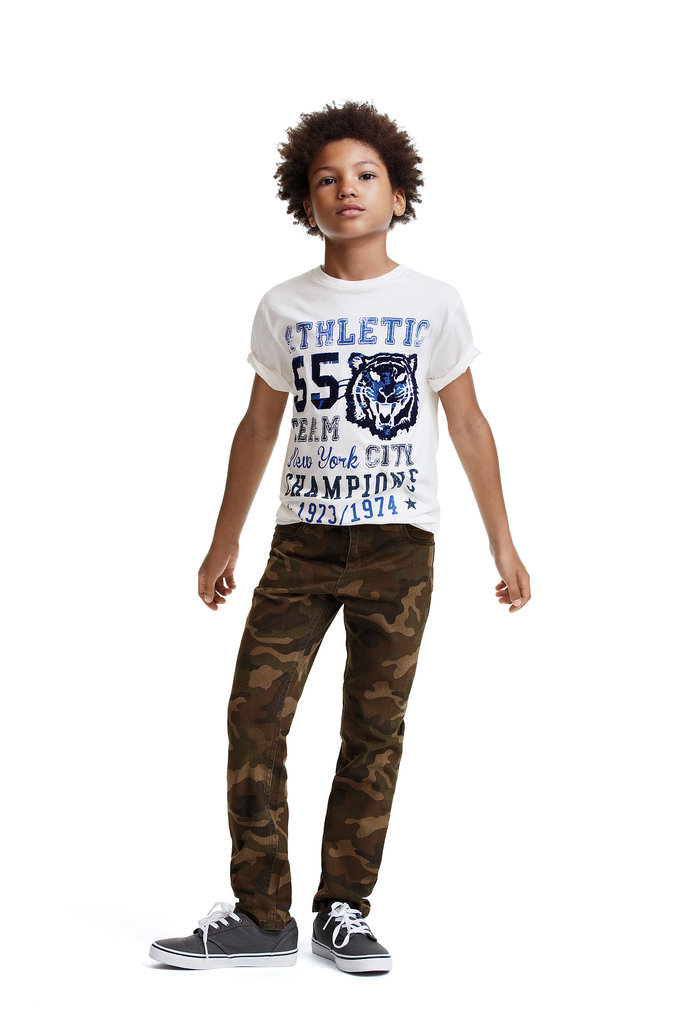 Joe Fresh's line of boys' graphic tees come in at just $8 a piece, and pair perfectly with camouflage pants ($24).