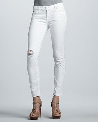 7 For All Mankind The Slim Cigarette Distressed Jeans