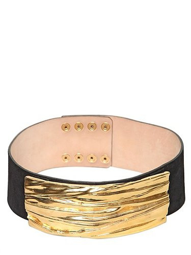 75mm Gold Plaque Suede High Waist Belt