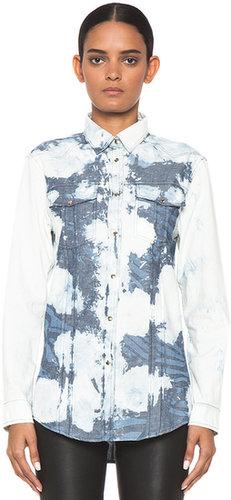 Pierre Balmain Bleached Zebra Printed Western Shirt in Denim Oxford