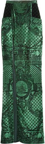 Balmain Velvet-brocade high-waisted split skirt
