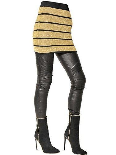 Striped Lurex & Viscose Knit Skirt