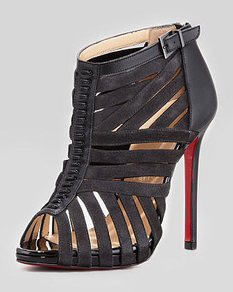 Christian Louboutin Karina Caged Red-Sole Ankle Bootie, Black