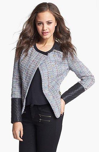 Collection B Faux Leather & Bouclé Jacket (Juniors)   Nordstrom