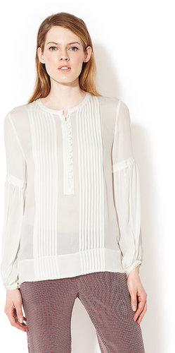 Silk Peasant Sleeve Pintucked Blouse