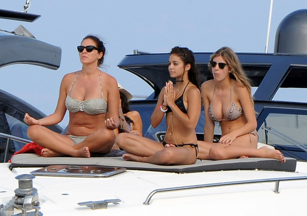 Vanessa Hudgens did yoga moves on the boat.