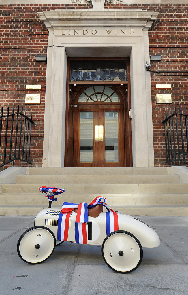 A gift for the royal baby was left outside the hospital's Lindo Wing.