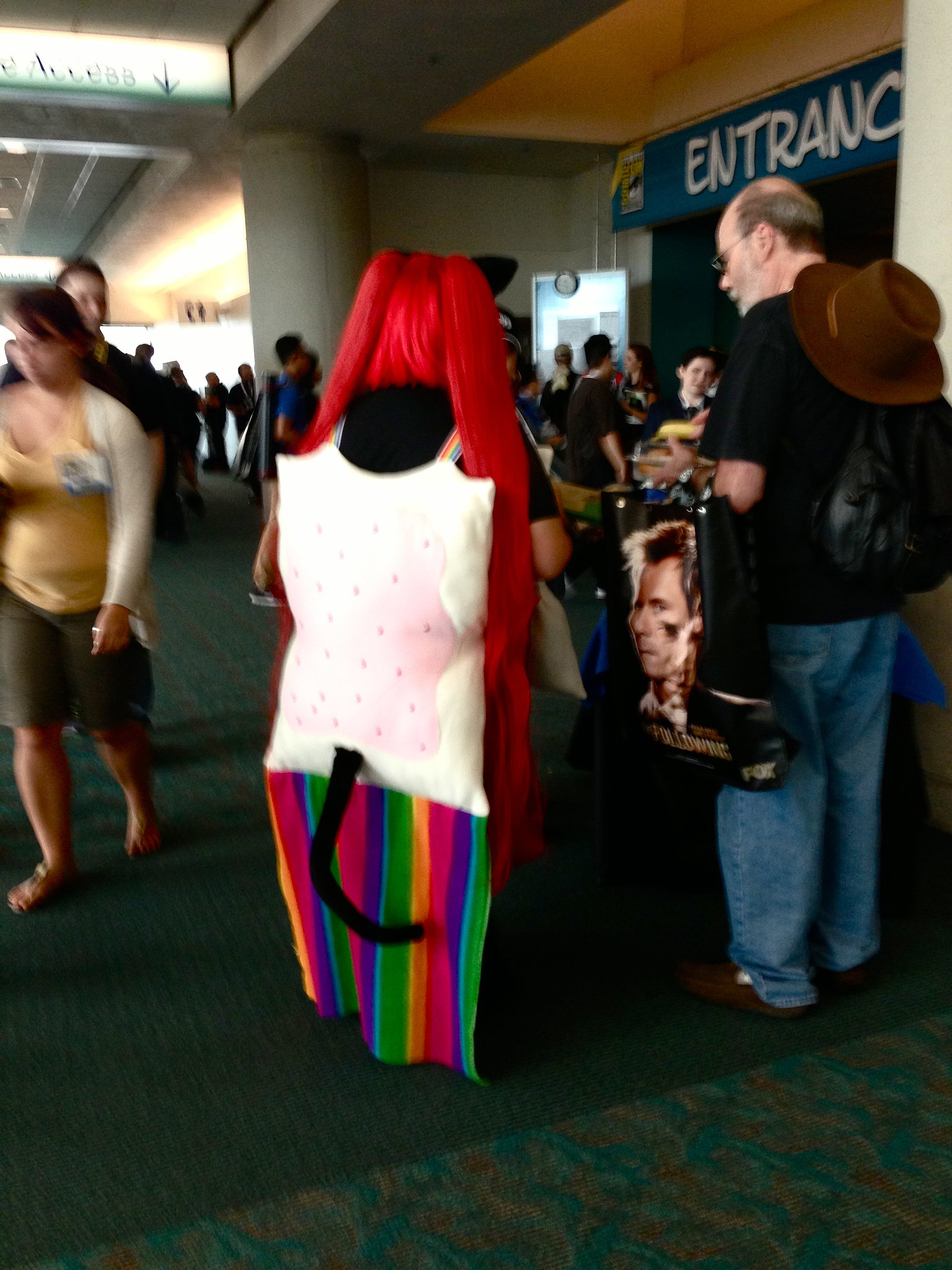 Nyan Cat, representing everything good in the world with a Pop-Tart body and rainbow flying track, is always welcome at Comic-Con.