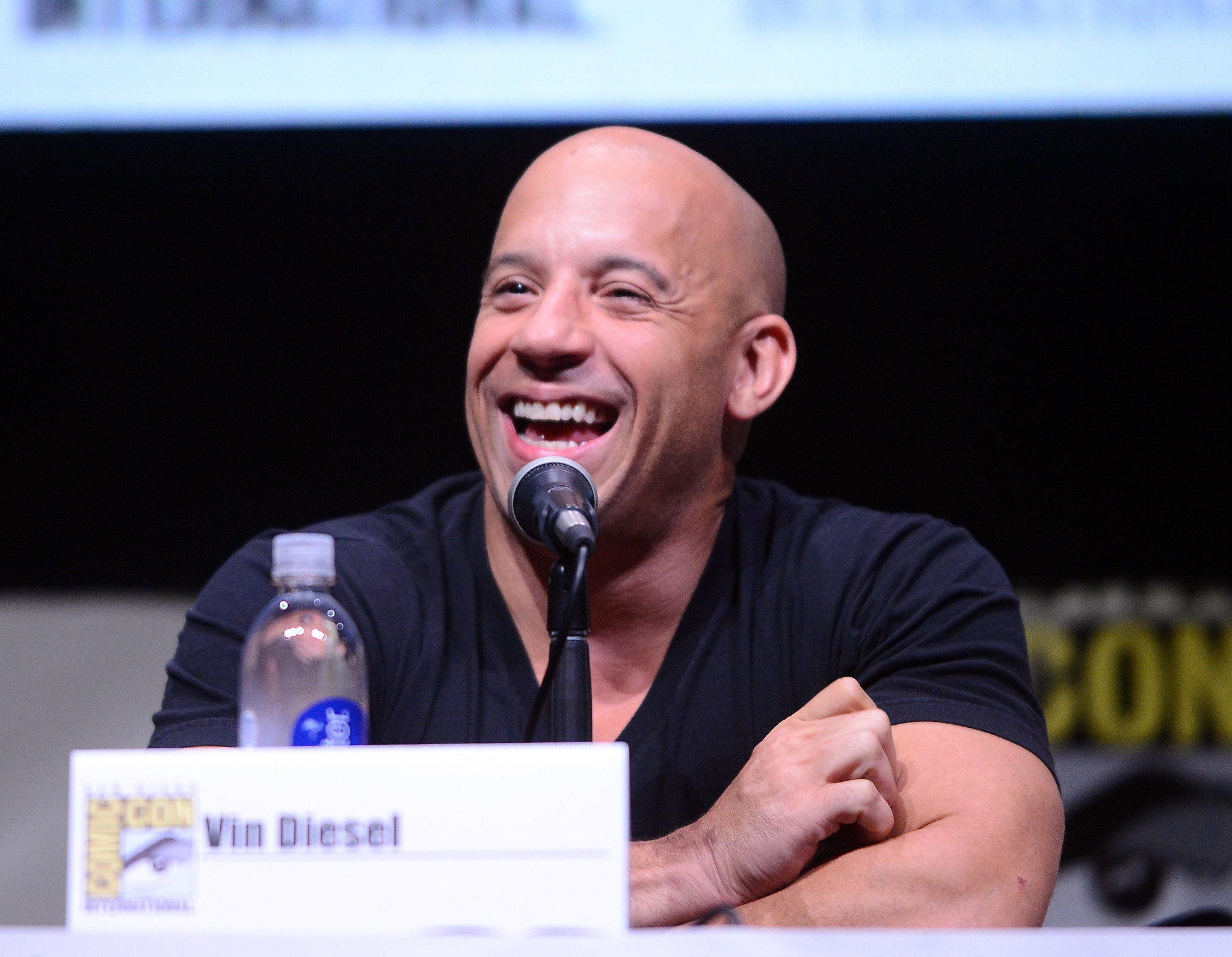Vin Diesel went to a panel for Riddick on Friday.