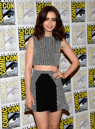 Lily Collins was at a press line for The Mortal Instruments: City of Bones.
