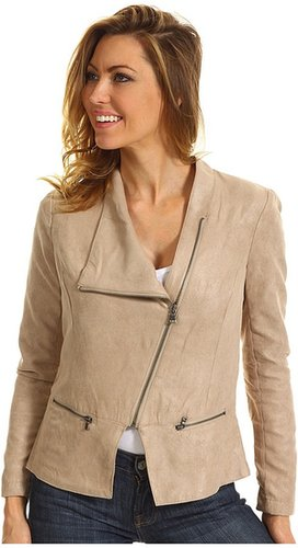 DKNY Jeans - Faux Suede Drapey Front Jacket (Light Rye) - Apparel